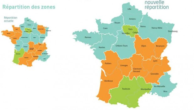 carte de france zone de vacances