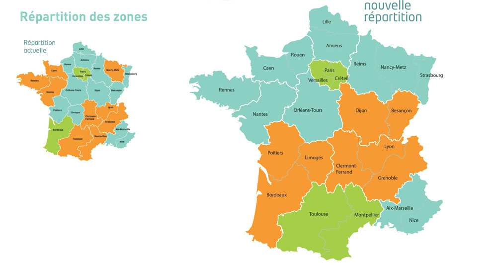 Liste des acad mies des zones a b et c en france for B b carte france