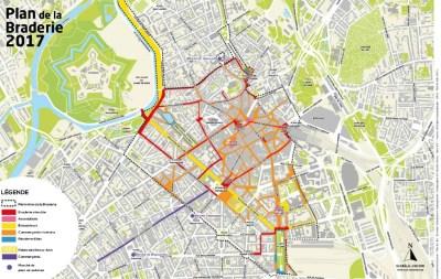 Plan de la grande braderie de Lille 2017